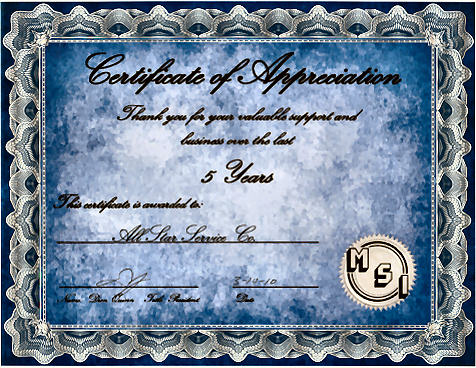 MSI Certificate of Appreciation